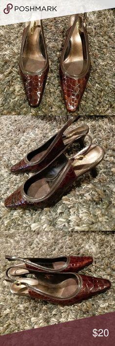 Liz Claiborne Slingback Heels Brown Liz Claiborne slingback heels Liz Claiborne Shoes Heels