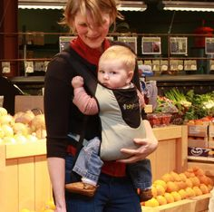 Mom Carrie and baby Joseph grocery shopping with Bitybean