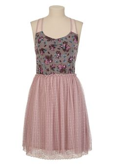 Lace Back Floral Dot Mesh Dress available at #Maurices