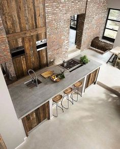 Exposed brick and reclaimed wood! This kitchen is designed by ÇA-VA! Interieur and is located in // Photo by Nicole Minneboo - Architecture and Home Decor - Bedroom - Bathroom - Kitchen And Living Room Interior Design Decorating Ideas - Beautiful Kitchen Designs, Contemporary Kitchen Design, Beautiful Kitchens, Rustic Contemporary, Modern Design, Barn Kitchen, Rustic Kitchen, Warehouse Kitchen, Kitchen Brick