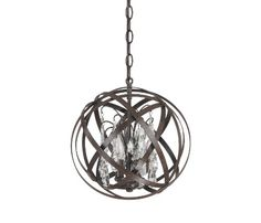 Capital Lighting 4233RS-CR Axis 3-Light Pendant, Russet Finish with Clear Crystal Accents