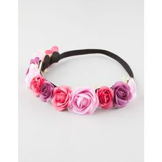"""Pink flower crown.  Pink and purple roses attached to an elasticized headband.  Approx circumference 21.5"""".  Imported."""