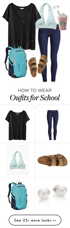 """School Goals- Lazy day"" by robramey17 on Polyvore featuring Levi's, Free People, H&M, Shop Latitude Bazaar, Mikimoto, Patagonia and Birkenstock"