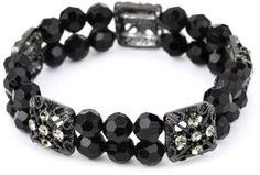 Amazon.com: 1928 Jewelry Stretch Double Beaded Black Crystal Bracelet: Jewelry