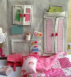 Sewed Textile Dollhouse with Miniature Accessories by Niniragdolls