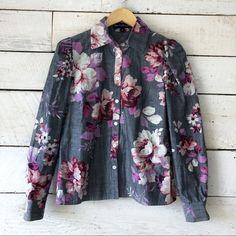 Jill Stuart Tops | Chambray Floral Printed Button Down | Poshmark Nude Heels, White Denim, Blossoms, Chambray, Colorful Shirts, Work Wear, Button Downs, Kimono Top, Floral Prints