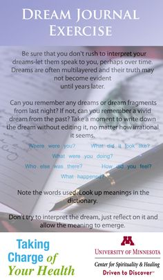 A helpful exercise to examine what your dreams may be telling you.