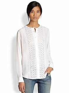 Equipment Julian Silk Cutout Floral-Patterned Shirt