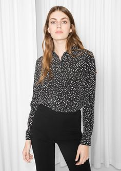 & Other Stories image 2 of Dot Print Silk Shirt in Black/Dots