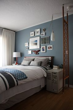 Jen and Eric's Colorful Mid-Century Home. Would luv to find a screen like that for our bedroom... nice!
