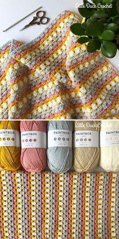 Granny Stripe Crochet, Crochet Square Patterns, Crochet Quilt, Crochet Blanket Patterns, Baby Blanket Crochet, Crochet Designs, Crochet Stitches, Crochet Baby, Free Crochet