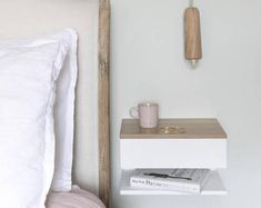 Floating Bedside Table With Oak Top White lacquered beech bedside table with solid oak top. Bedside Shelf, Bedside Drawers, Floating Nightstand, Floating Shelves, Small Bedside Tables, White Shelves, Floating Table, Nightstand Ideas, Under Bed Drawers