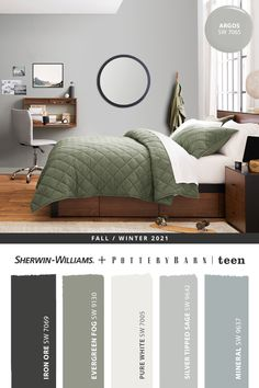 If your teen's bedroom is in need of a modern refresh, this sophisticated paint palette from Sherwin-Williams should spark some inspiration. To get your painting project started, stop by the nearest store or tap this pin to browse the entire @potterybarnteen Fall/Winter 2021 paint palette then shop online. #sherwinwilliams #potterybarn #paintinspo #DIY #decor #lovemypbteen #potterybarnteen #interiordesign #homedecor #painting #colorinspiration #renovation #paint #bedroom