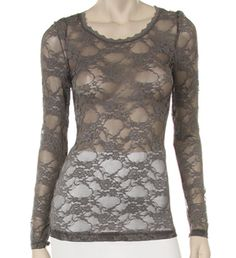 Grey Long Sleeve Lace T-Shirt ~white would be nice too.