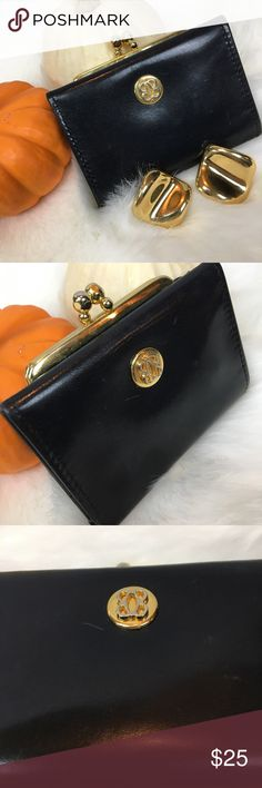 """•Vintage• BOSCA French Black Wallet Change Purse ADORABLE. This is a vintage GEM!!! Full grain black leather vintage clasp change purse - trifold wallet from Bosca. Stamped. Some wear as photos show. But still lovely and fully functional!! This is a beautiful piece!! Measures approximately 3.75"""" x 2.5"""" ... these are hard to come by. Very unique piece!! Bosca Bags Wallets"""