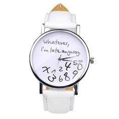 Women Teen Girls Faux Leather Watches Comment Design Quartz Wristwatche White ** For more information, visit image link.