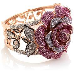 "Joan Boyce ""Garden Party"" Crystal Flower-Design Hinged Bangle Bracelet"