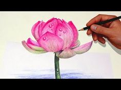 Drawing A Lotus Flower With Simple Colored Pencils | - YouTube