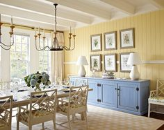 Furniture, Classic Dining Room Decorations With Wooden Chair And Dining Table Design Also Blue Sideboard Design And Classic Shandelier Ideas: Dining Room Sideboards To Make Your Dining Room More Appealing