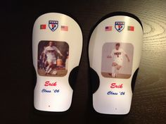 Customized shinguards molded to your leg and with personalized photo and logo