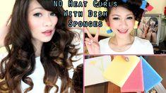DIY: Big No Heat Curls W/ Dish Sponges, via YouTube.