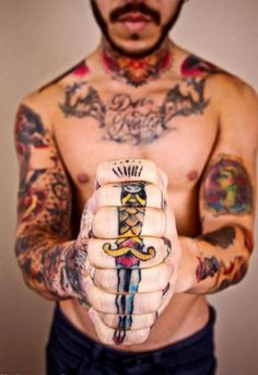 Hand tattoo – butterfly connection on both hands.