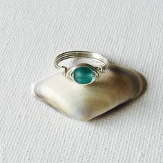 Made an Aqua Sea Glass Silver Wire Ring!