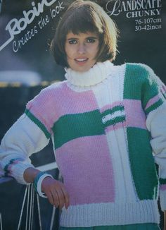 Turtleneck Knitting Pattern Sweater Robin 14135 by elanknits (Craft Supplies & Tools, Patterns & Tutorials, Fiber Arts, Knitting, knitting pattern, turtleneck pattern, sweater pattern, jumper pattern, elanknits, colour block pattern, Robin 14135, chunky weight yarn, landscape chunky, women, knit jumper pattern, pullover pattern, colour block sweater)