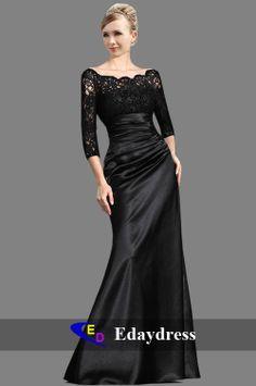 Long Black Lace Top Satin Bottom Skirt Bridesmaid Party Formal Dresses Evening Dress