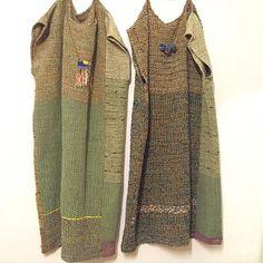 2枚のワンピース。  #さをり#さをり織り #SAORI #手織り #Weaving #fashion #saoriweaving #handwoven #woven #仕立て #ワンピース #dress