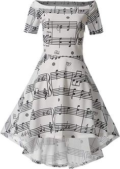 67de012a377279 Wellwits Women s Music Note Off Shoulder High Low Vintage Swing Dress White  M at Amazon Women s Clothing store