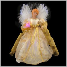 14 Inch Fiber Optic Angel Tree Top With Ivory Gown
