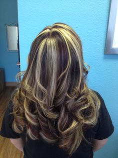 Hair color with blond dark brown and burgundy