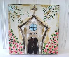 church items Items similar to Blessed Church Original - Bronwyn Hanahan Art on Etsy Paintings I Love, Easy Paintings, Painting On Wood, Painting & Drawing, Body Painting, Wow Art, Paint Party, Religious Art, Acrylic Art