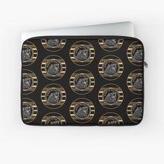 'Black & Gold Beware The Bear Pattern' Laptop Sleeve by HavenDesign Back To Black, Laptop Sleeves, Black Gold, I Shop, Bear, Pattern, Stuff To Buy, Patterns, Bears