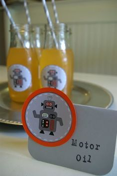 Oleander and Palm: Robot Birthday Party - Part III (The Food)- Could be an adult beverage since all of his friends will be out of town :( 6th Birthday Parties, Birthday Fun, Birthday Ideas, Transformer Party, Robot Theme, 3d Character, Character Concept, Party Ideas, Taco Party