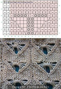 "#Knitting_Stitches - Dragonfly Lace Stitch - ""I really love the look of this stitch and can imagine it used in a lovely capelet or shrug with a delicate crochet lace edge. The pattern is fairly simple with 10 rows, but only 6 of them are really pattern rows with 4 rows of stockinette between. Stitch symbol chart at the site."" comment via #KnittingGuru"