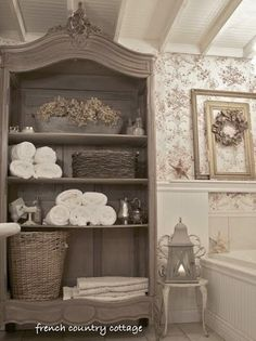 Even a grand bathroom might lack adequate storage space for toiletries. With doors removed, this antique armoire holds and displays pretty soaps, potions, and towels—and does so with a bit of subtle French flair.