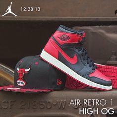 """Available 12/28/13- Nike: Air Jordan Retro 1 High OG (MN, GS)- """"Bred""""- New Era Chicago Bulls Snapback #JimmyJazz #Trendingnow #Jordan #Retro1 #high #OG #bred #IGSneakercommunity #newera  #chicagobulls #snapback jimmyjazz.com"""