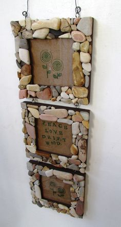 Three Tiered Rock Frames, Rustic Home Decor, Beach Home Decor (Made to Order) - Wohnaccessoires Ideen Seashell Crafts, Beach Crafts, Diy Home Crafts, Crafts For Kids, Art Crafts, Decor Crafts, Stone Crafts, Rock Crafts, Arts And Crafts
