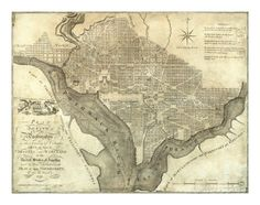 Plan of the City of Washington, c.1795 Prints by John Reid at AllPosters.com  #5177867  11 x 9  $21.99