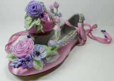 The ribbonwork on these shoes is made using traditional French ribbonwork techniques. NO wired ribbon in these shoes. Matching wedding