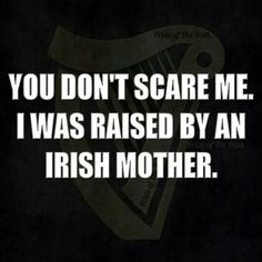 "have to wonder if my kids think this.Should read ""Nothing scares me. I was raised by an Irish Mother! Irish American, American History, Native American, American Symbols, American Women, American Indians, American Art, Irish Quotes, Irish Sayings"
