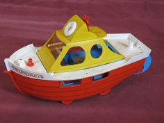 "Vintage Weebles S.S. Littleputt 15"" Boat Yacht Hasbro 1970's Ship Orange"