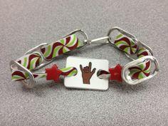 ILY ( I Love You ) Christmas bracelets made from pop tops !  $3.00  HandCraftEdASL@me.com