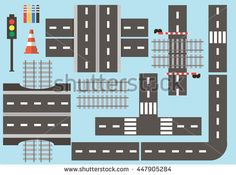 Collection of different roads to the constructor. Elements for the creation of road traffic. Road elements for city life.