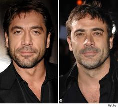 THANK YOU SOMEBODY! ---- Javier Bardem on the Left -- Jeffrey Dean Morgan on the Right.  This photo explains why I always confuse the two...