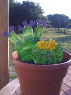 Fused glass cactus garden  and it doesn't need water!