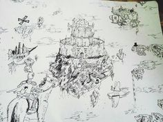 """Cool #fantasy #airship #penandink #sketch by @falenzzz of several #flyingmachines cruising around a #floating #kingdom. Nice looking #castle and good job with the layout. I like drawings like this because there's a lot happening without the #drawing looking """"busy"""". The #fish with a #tophat is silly but I like silly so nice work.  Looks like this was pretty fun to draw too... which is one of the most important things isn't it? Good work!"""