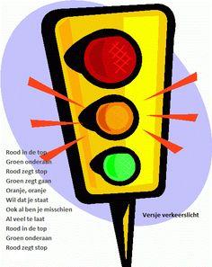 """versje over verkeerslicht over wat de kleuren op het verkeerslicht betekenen. Kleine mededeling onderaan het versje ontbreekt nog een zinnetje """" en groen zegt gaan"""""""